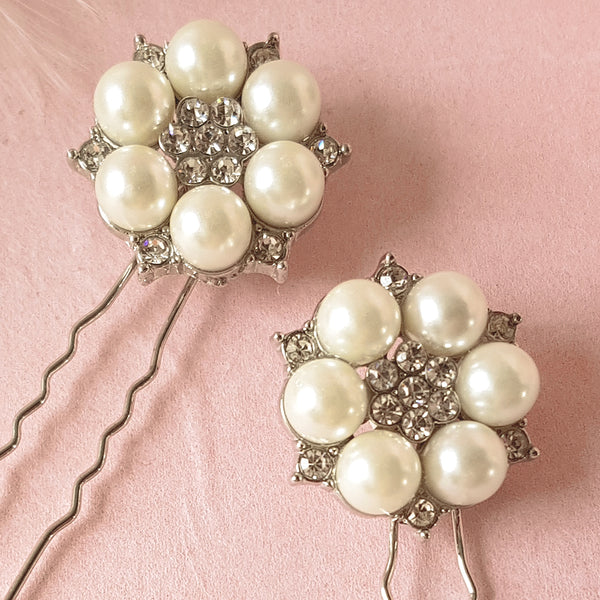 Je T'aime Vintage Pearl & Crystal Silver Wedding Hair Pins