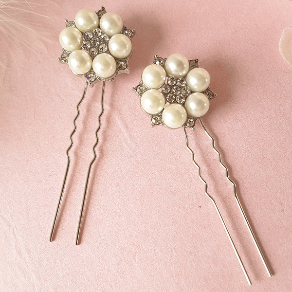 Je T'aime Vintage Pearl & Crystal Wedding Hair Pin Set