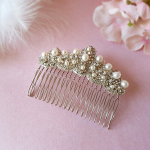 PEARL & CRYSTAL ART DECO FAN WEDDING HAIR COMB | SUSIE WARNER BRIDAL HAIR COMBS