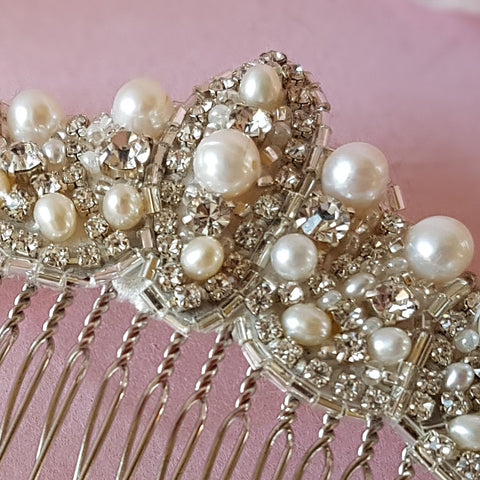PEARL & CRYSTAL ART DECO FAN WEDDING HAIR COMB | SUSIE WARNER BRIDAL ACCESSORIES