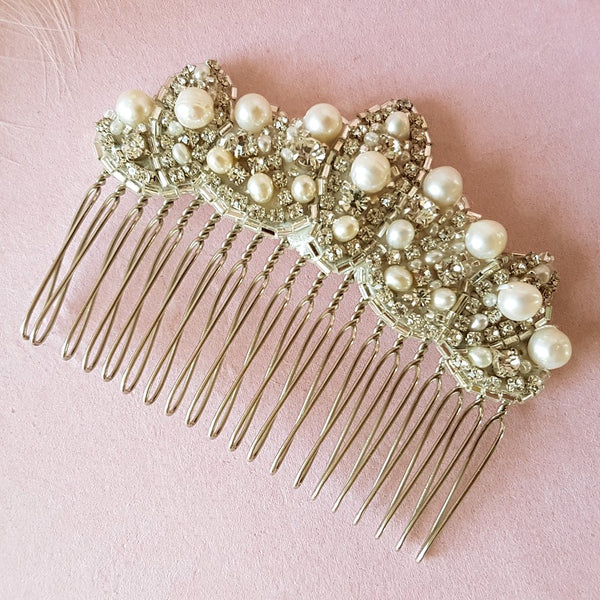 VINTAGE PEARL & CRYSTAL ART DECO FAN WEDDING HAIR COMB | SUSIE WARNER BRIDAL HAIR COMBS