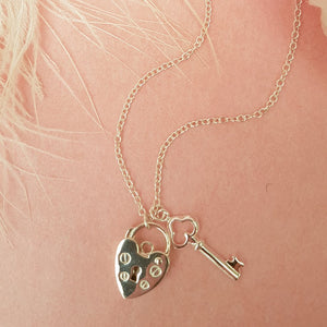 PADLOCK KEY STERLING SILVER NECKLACE