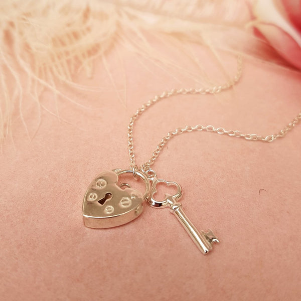 LOCK & KEY NECKLACE STERLING SILVER