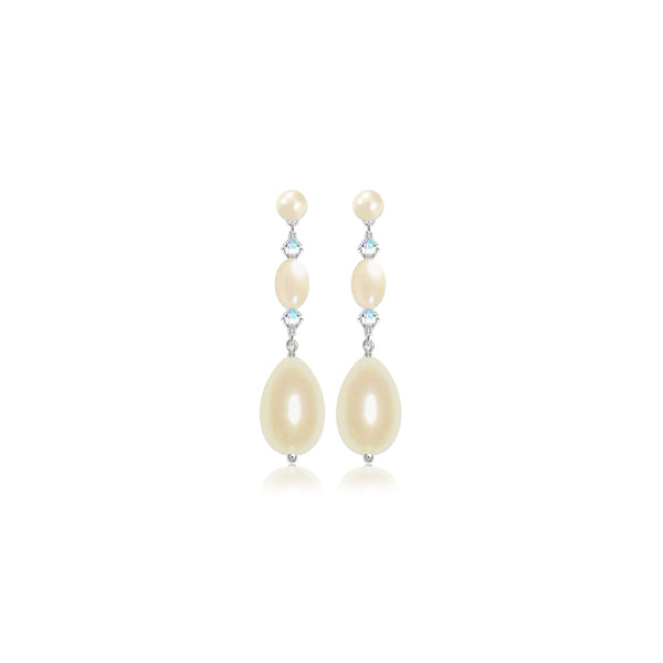 Kismet Pearl Stud Bridal Drop Earrings by Susie Warner