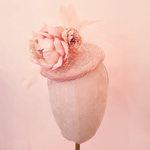 pink flower pillbox fascinator