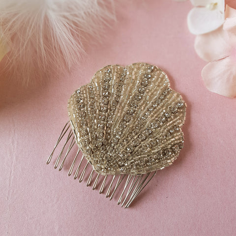 Lana Vintage Art Deco Crystal Fan Wedding Hair Comb
