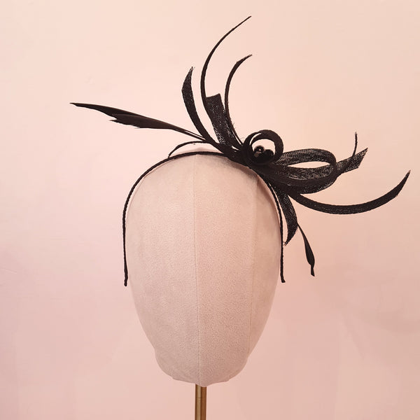 black wedding fascinator with feathers