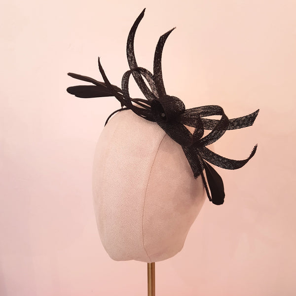 black fascinator for wedding guests