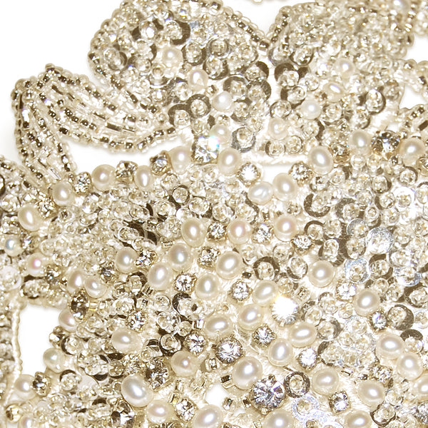 Lorelei Vintage Pearl & Diamante Flowers Statement Bridal Headdress Detail