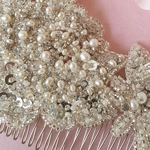 Lorelei Vintage Pearl & Crystal Flower Bridal Hair Comb For Weddings