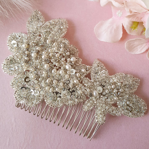 Lorelei Vintage Pearl Flower Wedding Hair Comb