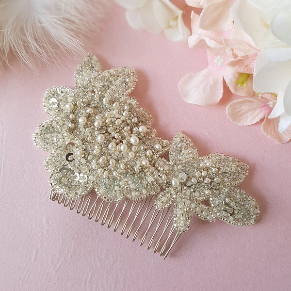 Lorelei Vintage Pearl & Crystal Flower Wedding Hair Comb