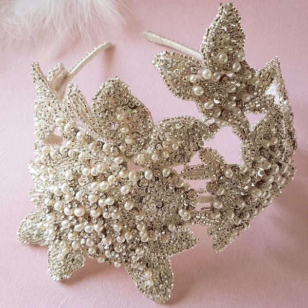 Lorelei Vintage Pearl & Crystal Flower Luxury Wedding Headdress