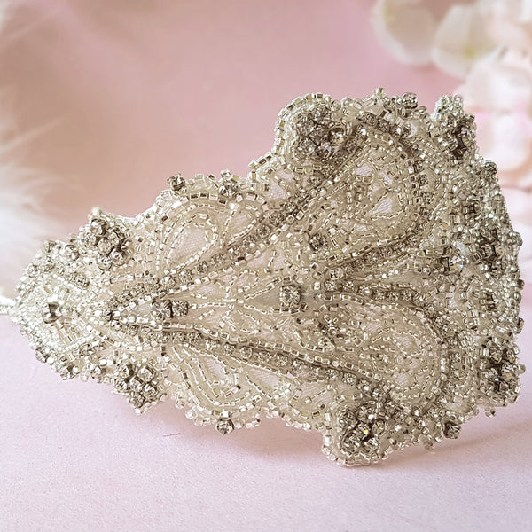 Loretta Vintage Crystal Wedding Side Tiara Headpiece