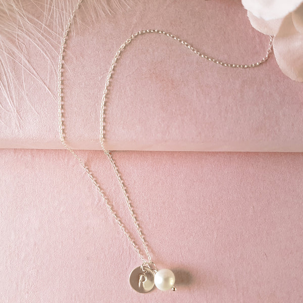 Personalised Sterling Silver Initial Pearl Necklace - Perfect for Bridesmaids
