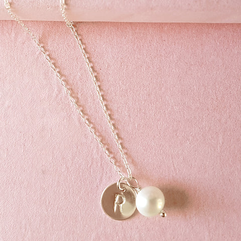 Personalised Silver Initial Pearl Necklace