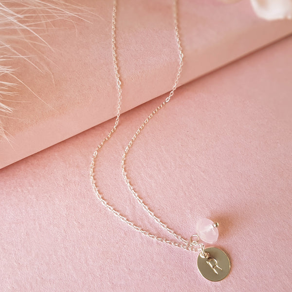 Personalised Sterling Silver Initial Rose Quartz Necklace