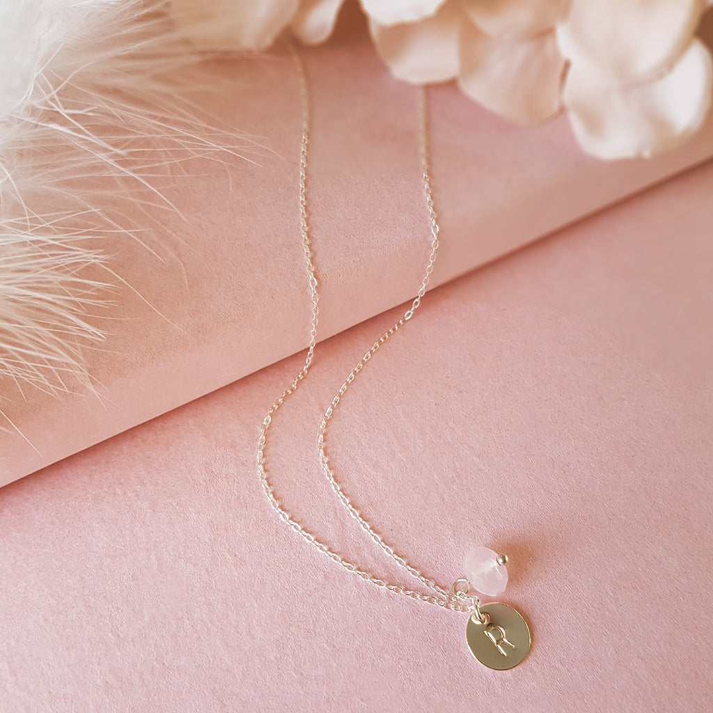 Personalised Silver Initial Rose Quartz Necklace