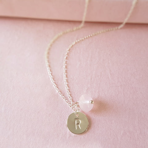 Personalized Silver Initial Rose Quartz Necklace