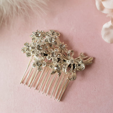 Love Potion Vintage Crystal Flowers Bridal Hair Comb