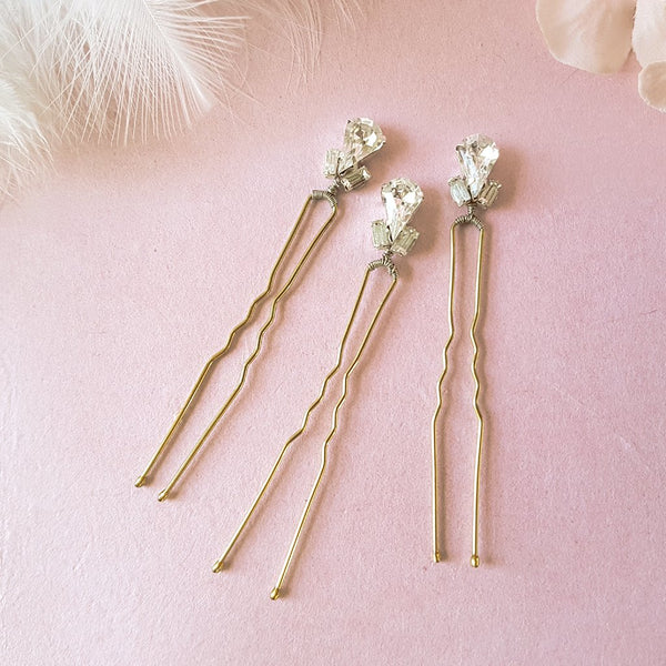 VINTAGE DIAMANTE CRYSTAL TEARDROP WEDDING HAIR PINS | SUSIE WARNER BRIDAL HAIR ACCESSORIES