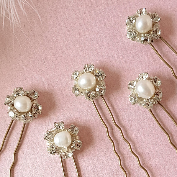 Milly Vintage Crystal & Pearl Bridal Hair Pins For Weddings