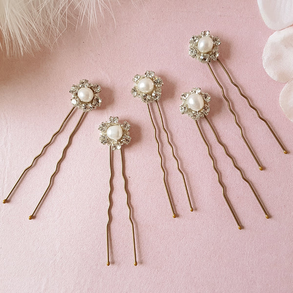 Milly Vintage Crystal & Pearl Wedding Hair Pins
