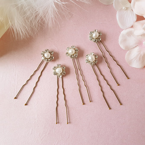 Milly Vintage Crystal & Pearl Wedding Hair Pins Set of 5