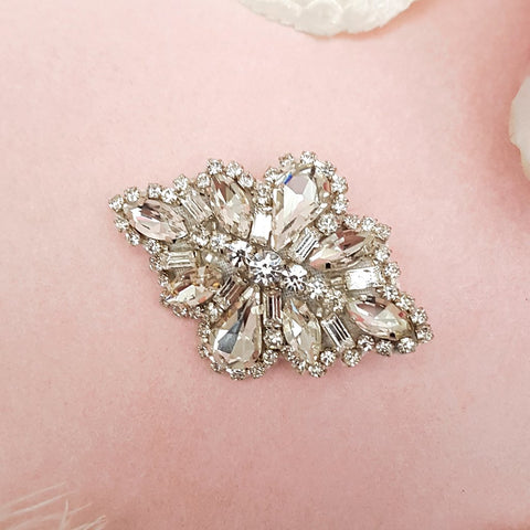 Olivia Vintage Teardrop Diamante Crystal Hair Clip