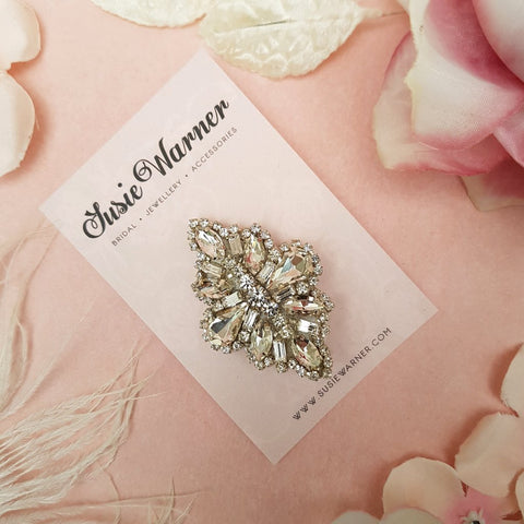VINTAGE TEARDROP DIAMANTE CRYSTAL WEDDING HAIR CLIP | SUSIE WARNER HAIR ACCESSORIES