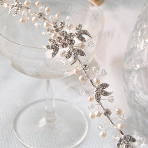 Passionate Diamante & Pearl Flowers & Leaves Bridal Hair Vine