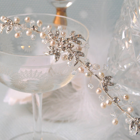 Passionate Diamante & Pearl Flowers & Leaves Wedding Hair Vine Headpiece by Susie Warner