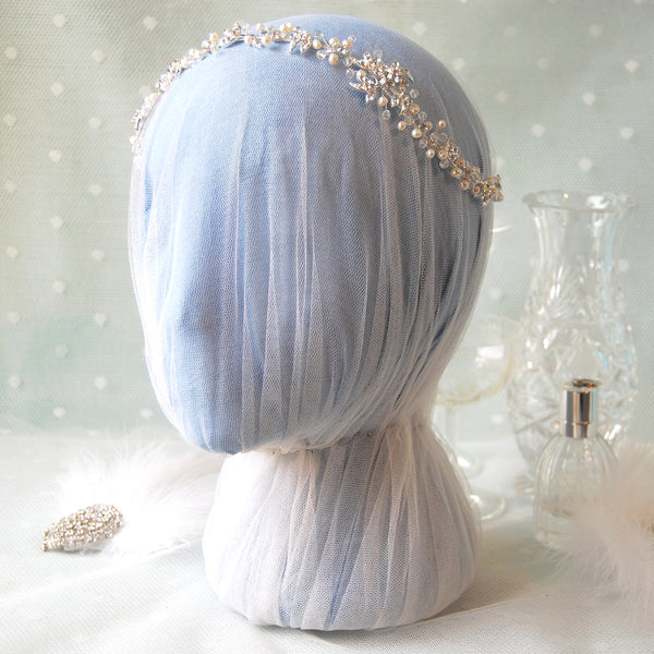 Passionate Crystal & Pearl Flowers & Leaves Bridal Hair Vine Headdress