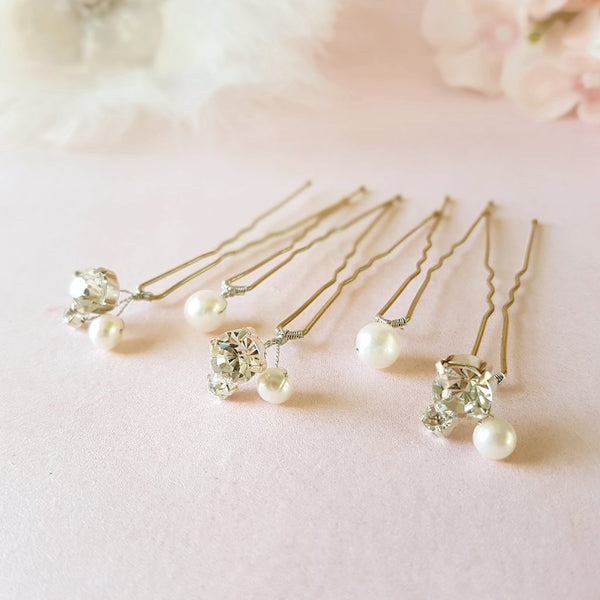 VINTAGE PEARL & DIAMANTE CRYSTAL WEDDING HAIR PINS | SUSIE WARNER BRIDAL HAIR PINS