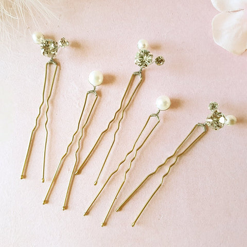 Perfection Vintage Pearl & Crystal Wedding Hair Pins