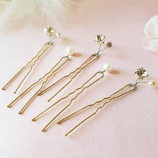 VINTAGE PEARL & DIAMANTE CRYSTAL WEDDING HAIR PINS | SUSIE WARNER BRIDAL ACCESSORIES