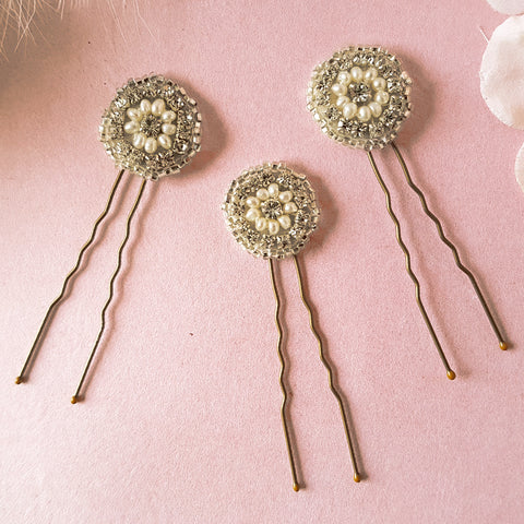 Phoebe Art Deco Pearl & Crystal Wedding Hair Pins