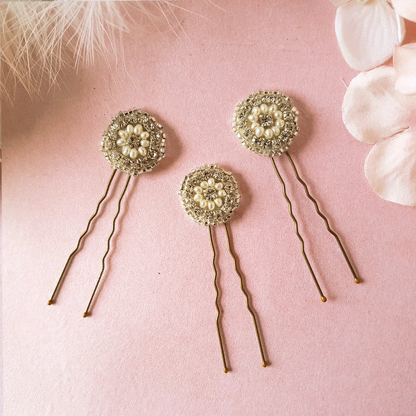 Phoebe Art Deco Pearl & Crystal Wedding Hair Pin Set of 3