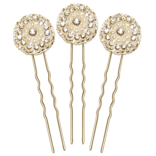 Phoebe Vintage Crystal & Pearl Wedding Hair Pin Set of 3