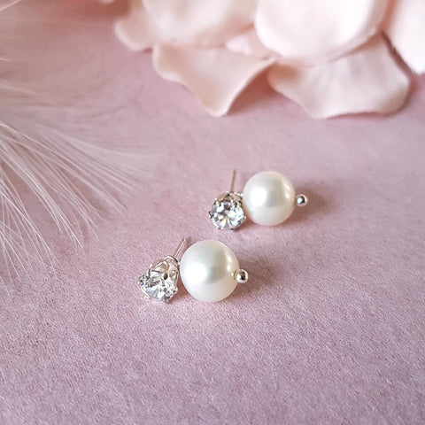 PEARL CZ BRIDAL EARRINGS | SUSIE WARNER WEDDING JEWELLERY