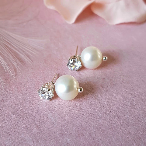 PEARL CZ WEDDINGS EARRINGS | SUSIE WARNER BRIDAL JEWELLERY