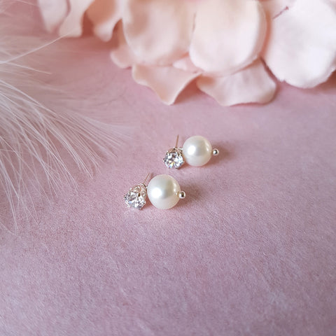 Precious CZ Stud & Detachable Pearl Wedding Earrings