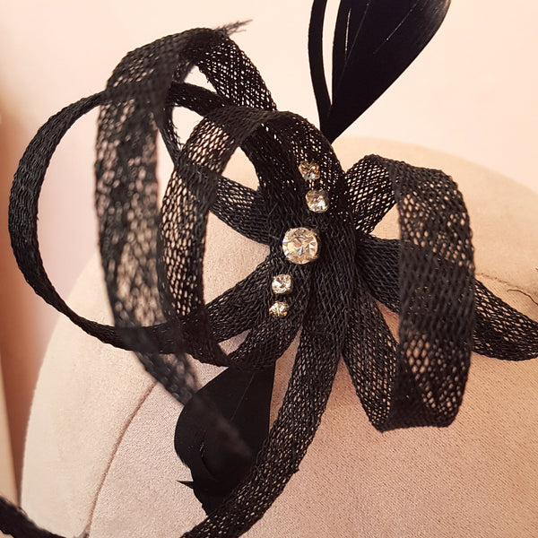 black crystal fascinator