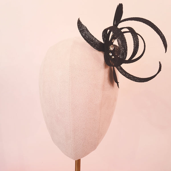 black bow wedding fascinator