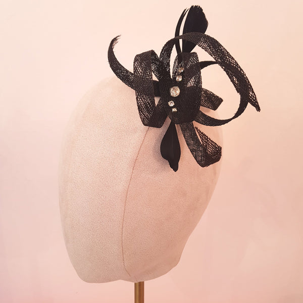 small black fascinator for wedding guests