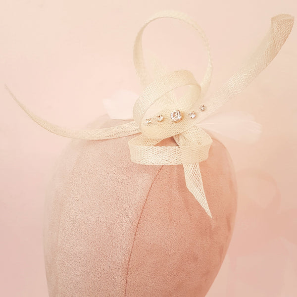 small ivory fascinator