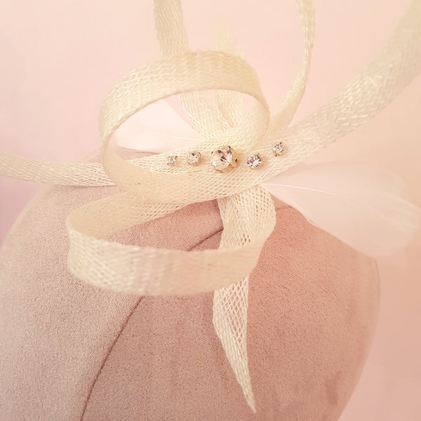 ivory crystal fascinator