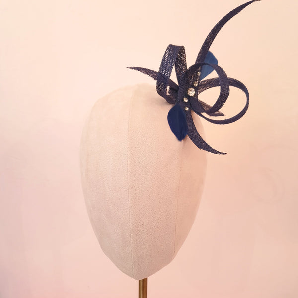 navy bow wedding fascinator