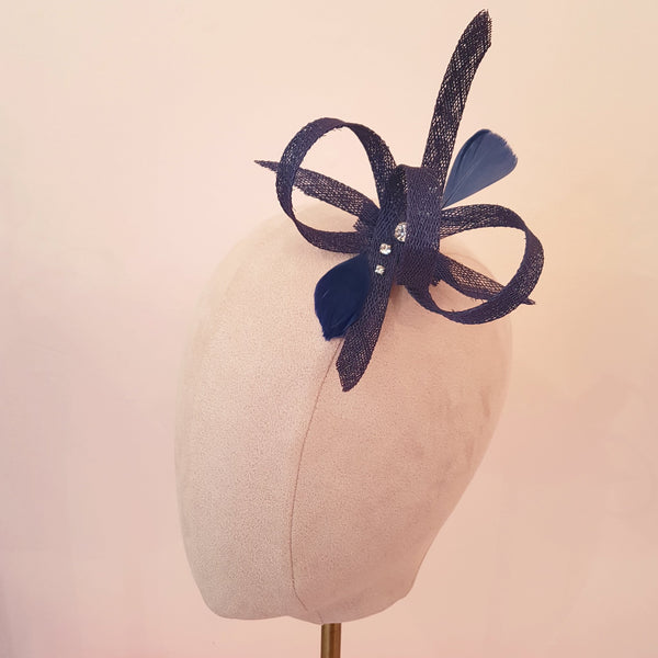 small navy fascinator