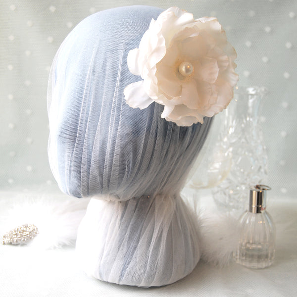She Walks In Beauty Vintage Faux Silk Rose Bridal Hair Flower